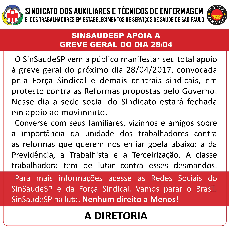SinSaudeSP apoia a greve geral do dia 28.04