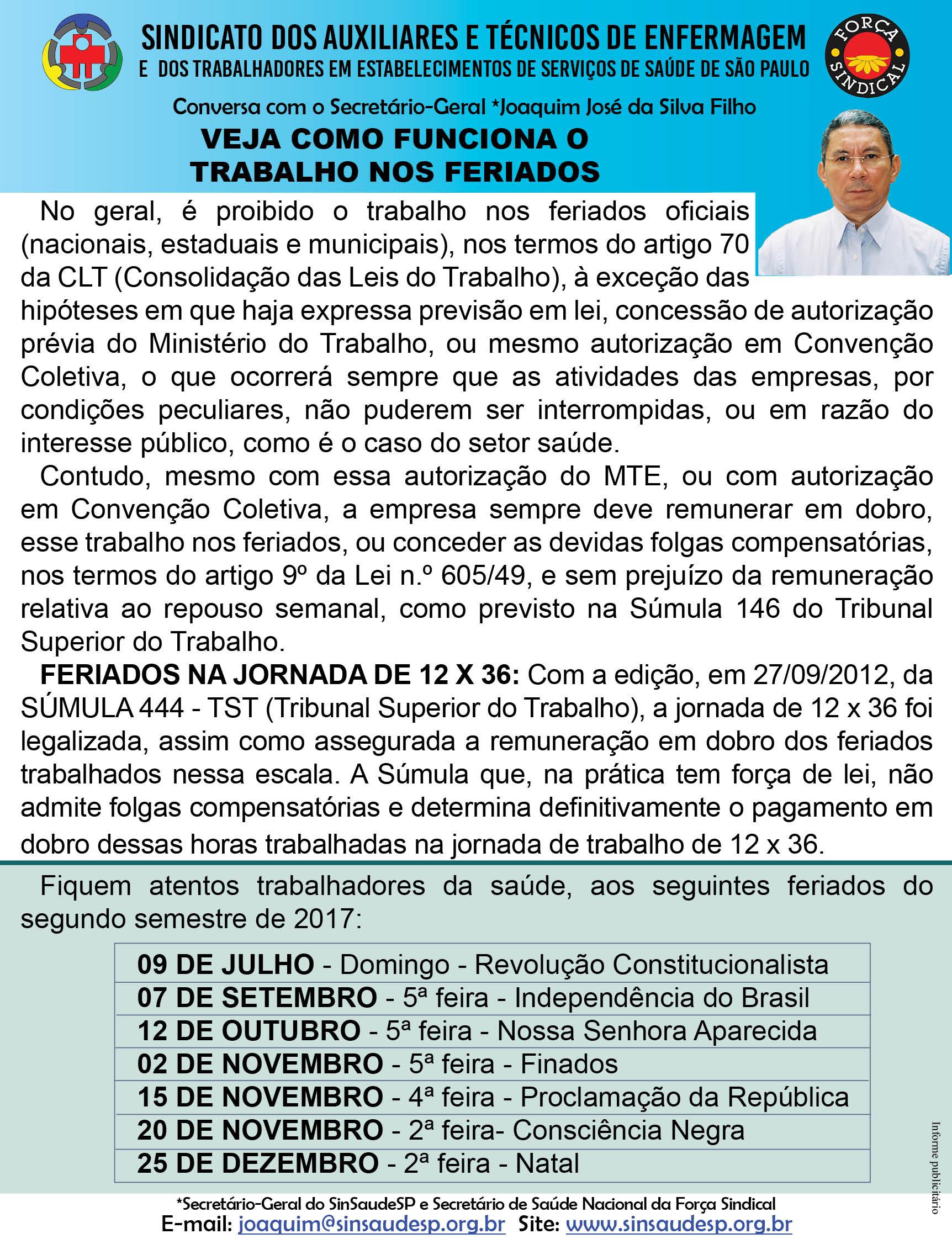 Recado 06.11 - Feriados