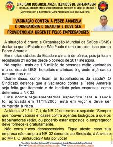 Recado 22.01 - Vacinacao contra a Febre Amarela e obrigatoria e gratuita para todos os trabalhadores da saude