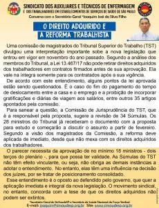 Recado 29.01 - O Direito adquirido e a Reforma Trabalhista