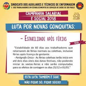 Campanha salarial e social - estabilidade apos ferias